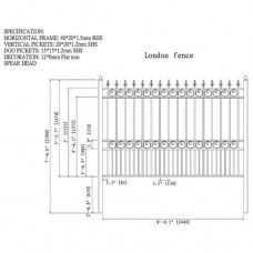 Aleko 8' x 5' Iron Steel Driveway Fence, London   553487074