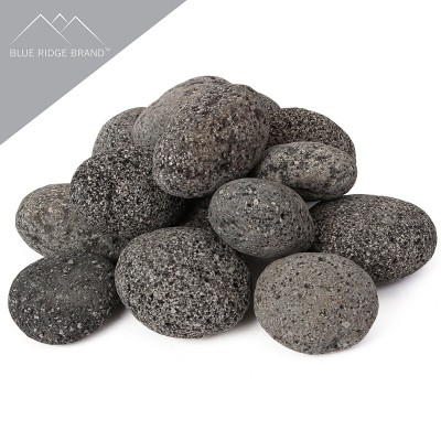 Blue Ridge Brand Lava Rock - Tumbled Lava Stones for Fire Pit - Black/Gray Volcanic Pebbles - Fire Glass Substitute - Landscaping Rocks