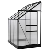 25 Sq. Ft. Aluminium Lean-To Greenhouse with Sliding Door & Roof Vent - 6 x 4 x 7 in.
