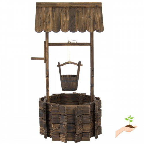 Best Choice Products Wooden Wishing Well Bucket Flower Planter Patio