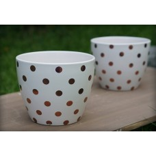 Better Homes and Gardens Gold 8 in. Dots Outdoor Ceramic Planter - set of 2   565821534