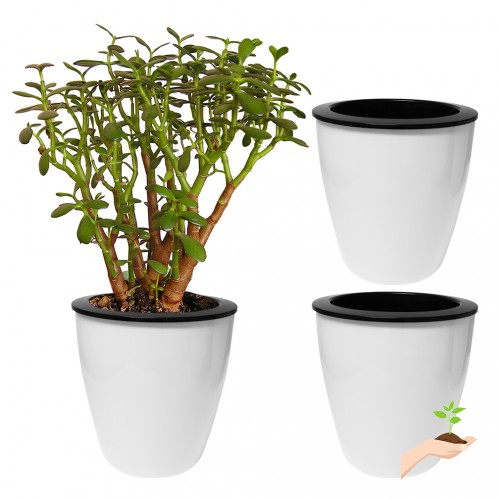 Evelots 3 Pack Of Self Watering Planters Small Or Large White