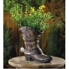 Zingz and Thingz Spurred Cowboy Boot Planter in Brown