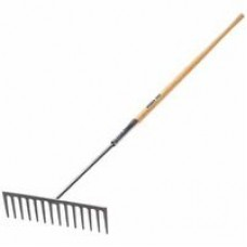 Forged Steel Blade Industrial Rake, 16 1/2 in Blade, 60 in Handle, White Ash, Sold As 1 Each