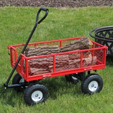 Sunnydaze Red Heavy-Duty Steel Log Cart, 34 Inches Long x 18 Inches Wide, 400 Pound Weight Capacity   567146959