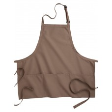 Ed Garments Three Divisional Pocket Bib Apron, MOCHA, 0