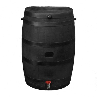 RTS Home Accents Flat Back Eco Rain Barrel, Black   555613932