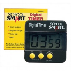 "School Smart Count Up and Count Down Big Digit Timer, 2.5"" x 2.5"", Black   563282809"