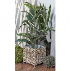 Decmode Set of 3 Traditional Iron Botanical-Inspired Square Planters, Gray   566921588