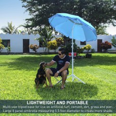 5.5' EasyGoShade Blue Portable Sun Shade Umbrella with Tripod Base Beach Stake and Tilt Feature. Great for Soccer, Baseball, Football, Fishing and the Beach - Blue Color