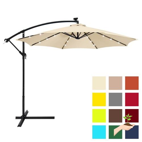 best choice products 10ft solar led patio offset umbrella w easy tilt adjustment light beige. Black Bedroom Furniture Sets. Home Design Ideas