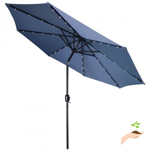 Led Umbrella Features: Deluxe Solar Powered LED Lighted Patio Umbrella