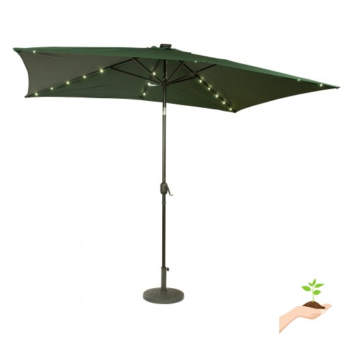 Rectangular Solar Powered LED Lighted Patio Umbrella   10u0027 X 6.5u0027   By  Trademark Innovations (Green) 550439062