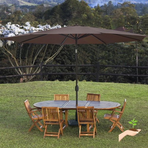 Sundale Outdoor 11 Feet Round Market Patio Umbrella Bronze Aluminum Pole Push Button Tilt with Crank UV Protection and Fade Resistant Canopy & Sundale Outdoor 11 Feet Round Market Patio Umbrella Bronze Aluminum ...