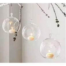 Set of 6 Hanging Glass Globe Plant Terrariums - Glass Orbs Air Plants Tea Lig...