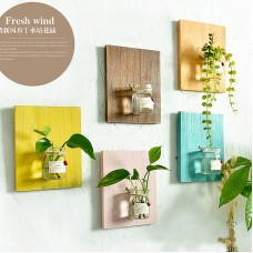 Wooden Wall Hanging Plant Terrarium Glass Planter Container,Creative Home Wall Decoration,Entryway Hallway Living Room Office Bedroom Decoration Orange