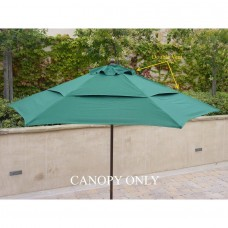 Formosa Covers Double Vented 9ft Umbrella Replacement Canopy 6 Ribs in Green (Canopy Only)   555827222