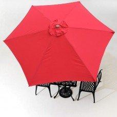 GHP 9-Feet Red 6-Rib UV30+ 180g/sqm Polyester Patio Umbrella Replacement Canopy