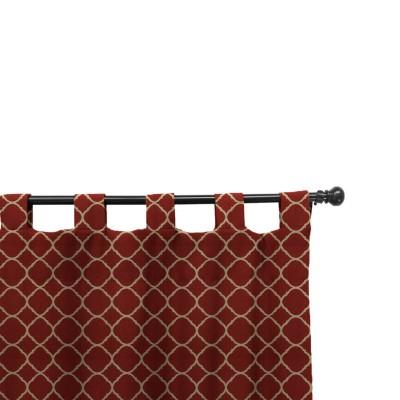 Easy Way Accord II Crimson Print Sunbrella Outdoor Drape with Tab Top