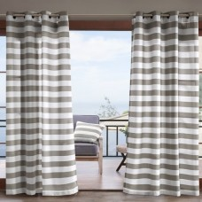 Highland Dunes Geraci Striped Semi-Sheer Outdoor Grommet Single Curtain Panel
