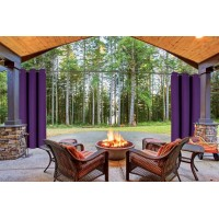 "(K68) PURPLE 2-Piece Indoor and Outdoor Thermal Sun Blocking Grommet Window Curtain Set, Two (2) Panels 35"" x 84"" Each"