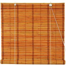 Burnt Bamboo Roll Up Blinds, 2-Tone Honey   554873326