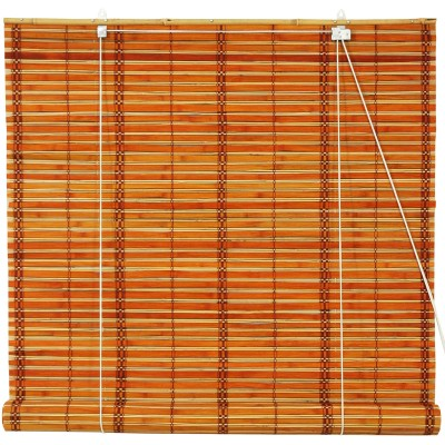 Burnt Bamboo Roll Up Blinds, 2-Tone Honey   554873340