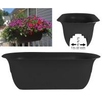 "Bloem Modica Deck Rail Planter 24"" Black   567638971"
