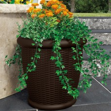"Suncast 22"" Wicker Resin Planter, Java, Contains 2 Planters   550928036"