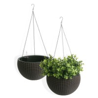 Algreen Self Watering Modena Wicker Hanging Basket